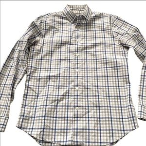 Express fitted plaid striped dress shirt Medium